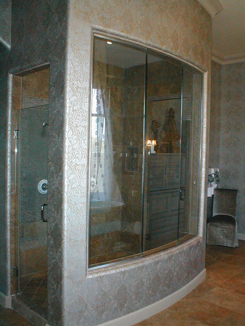Cohaco building specialties shower doors enclosures for Curved glass wall