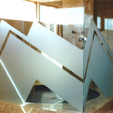 Glass Wall Shower Panels Zig Zag Sandblast