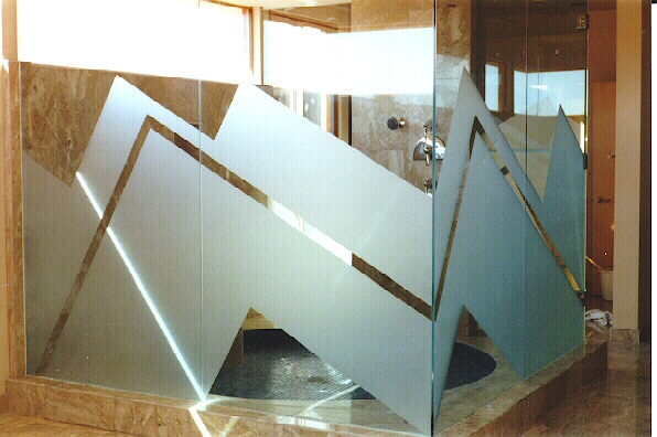 Zig Zag Sandblast Glass Wall Shower Panels